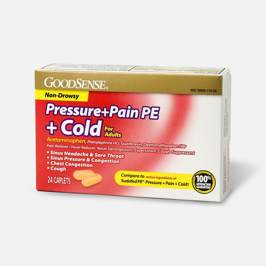 GoodSense® Pressure + Pain PE + Cold Relief Caplets, Non-Drowsy, 24 ct, , large image number 2