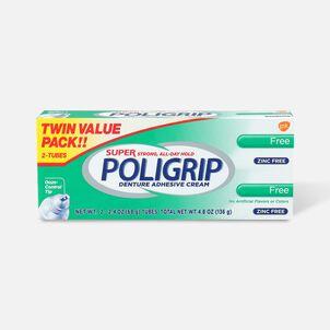 Super Poligrip Free Formula Zinc Free Denture Adhesive Cream - Twin Pack