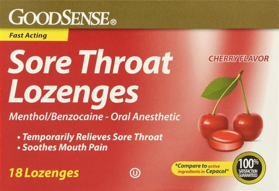 GoodSense® Sore Throat Lozenges Cherry, 18 Count, , large image number 0