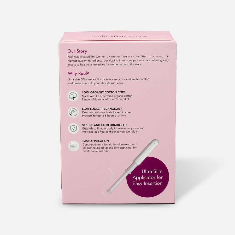 Rael Organic Cotton Core Tampons with BPA-Free Applicators, , large image number 4