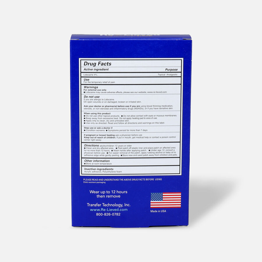 Re-Lieved 4% Lidocaine Pain Relief Patches, 6 ct, , large image number 1