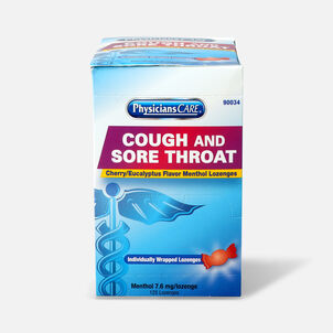 PhysiciansCare Cherry Flavor Cough and Throat Lozenges, 125/Box
