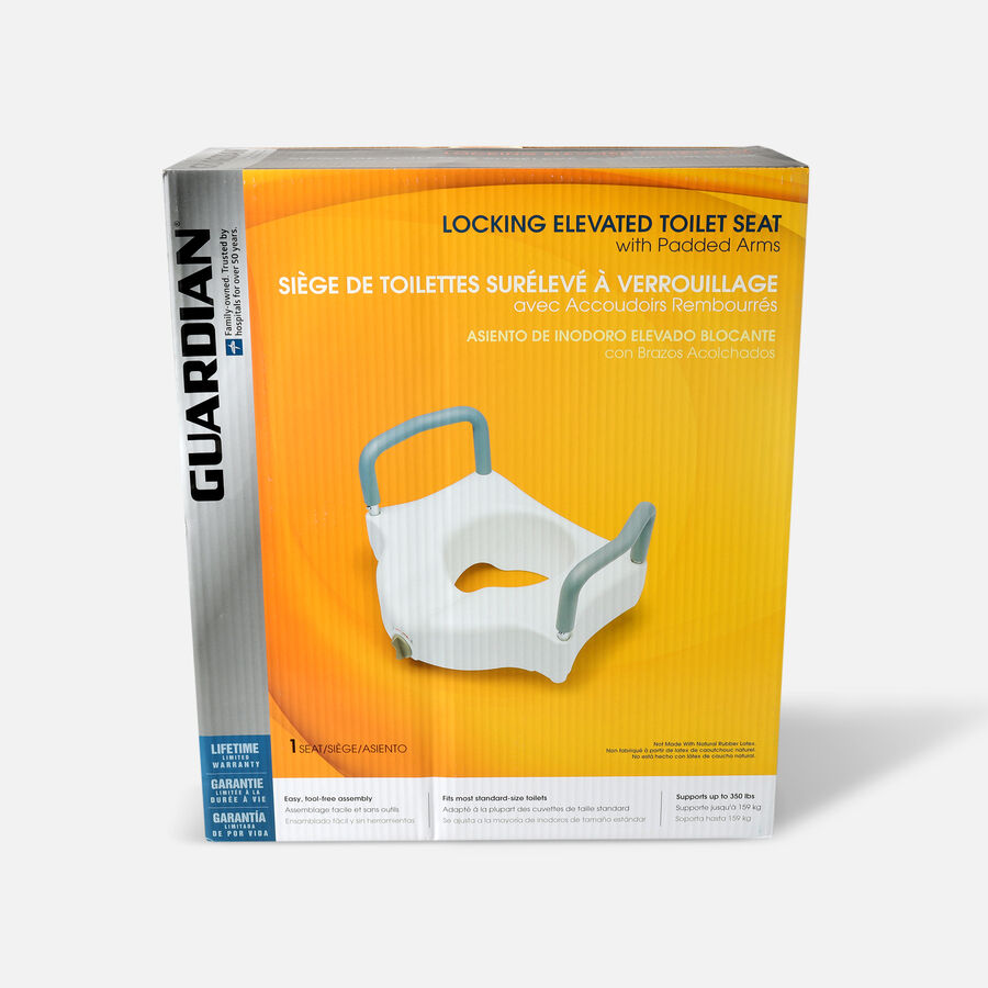 Guardian Locking Raised Toilet Seat with Arms, , large image number 0