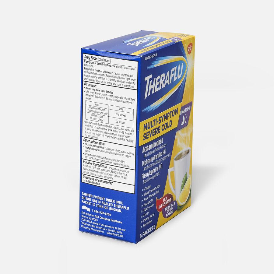 Theraflu Nighttime Multi-Symptom Severe Cold Hot Liquid Powder, Green Tea and Citrus Flavors, 6 ct, , large image number 3