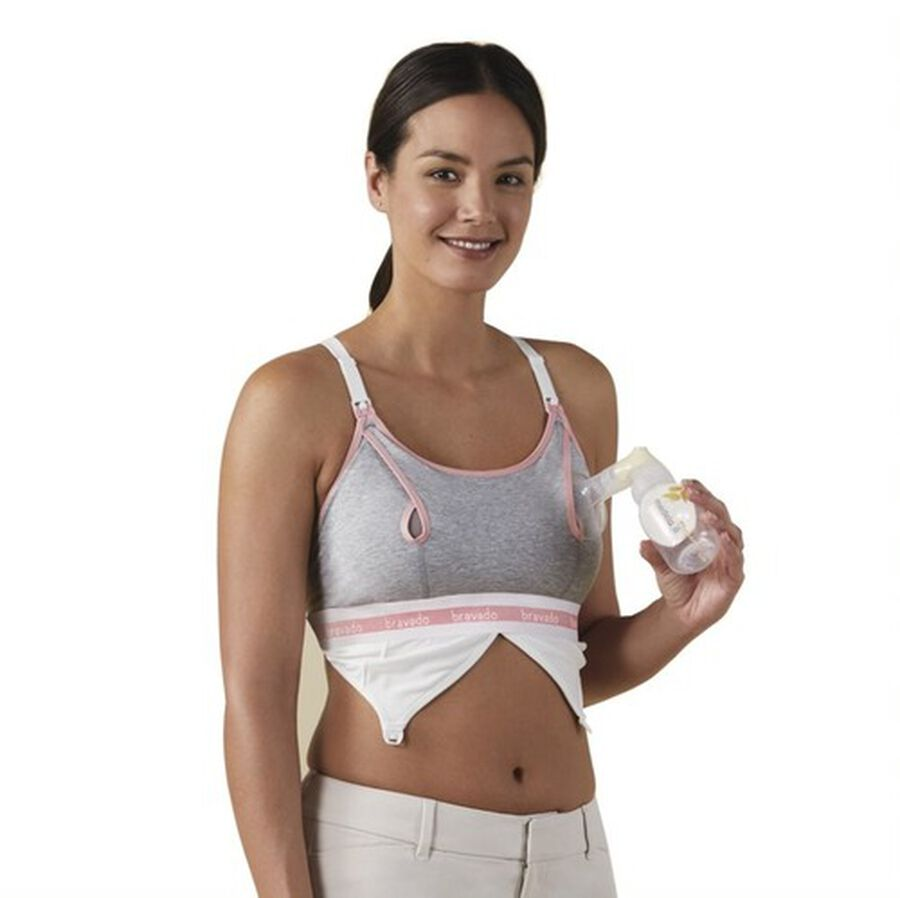 Clip and Pump Hands-Free Nursing Bra Accessory, Dove Heather, , large image number 6