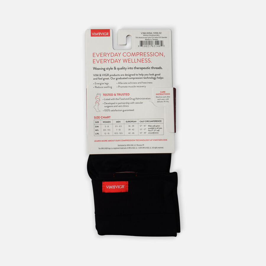 VIM & VIGR Moisture-Wick Nylon Socks, Solid Black, Wide Calf, 30-40 mmHg, , large image number 4