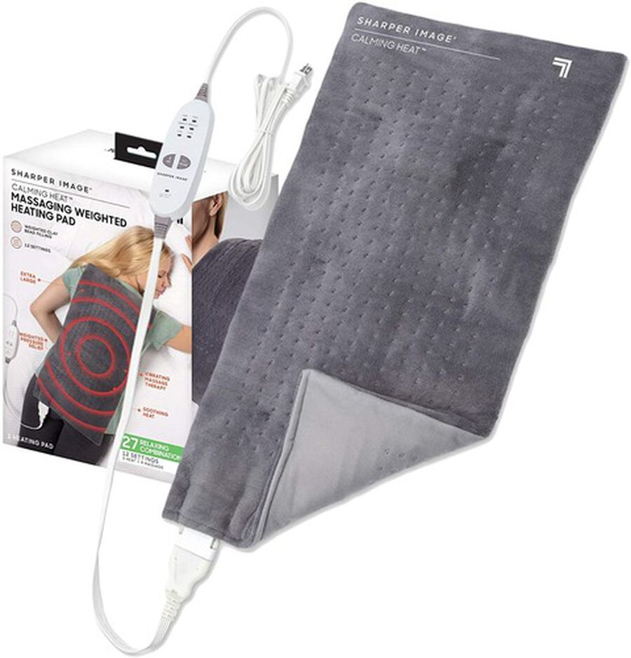 "Calming Heat Massaging Weighted Heating Pad, 12 Settings - 3 Heat, 9 Massage, 12"" x 24"", 4 lbs, , large image number 0"
