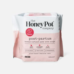The Honey Pot Postpartum Herbal Pads with Wings, 12 ct