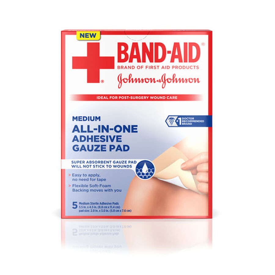 BAND-AID® All-in-One Adhesive Gauze Pad, , large image number 0