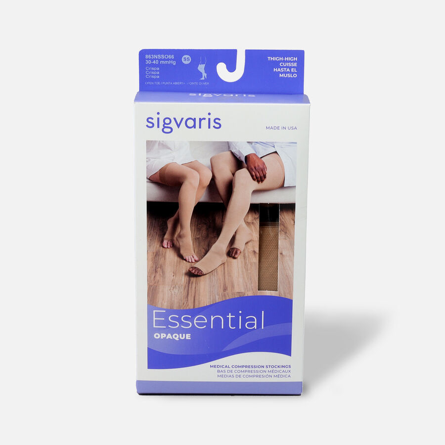 SIGVARIS Essential Opaque Thigh-High Open Toe, Crispa, , large image number 14