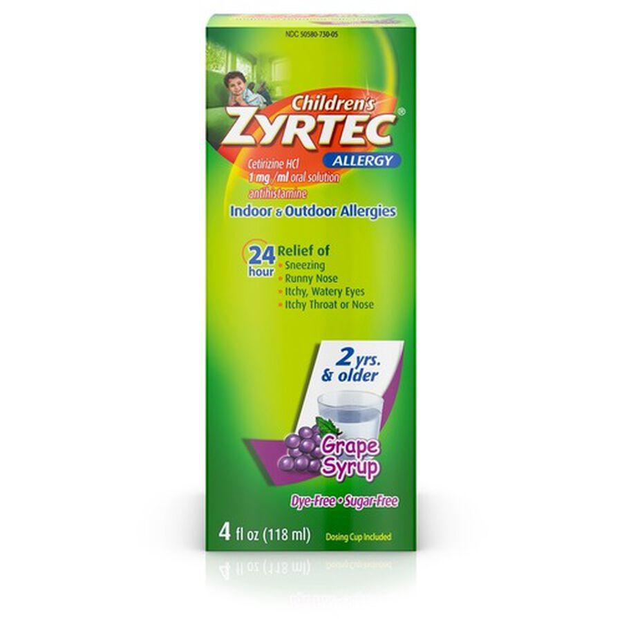 Zyrtec 24 Hr Children's Allergy Relief Syrup, Grape Flavor, 4 fl. oz, , large image number 0