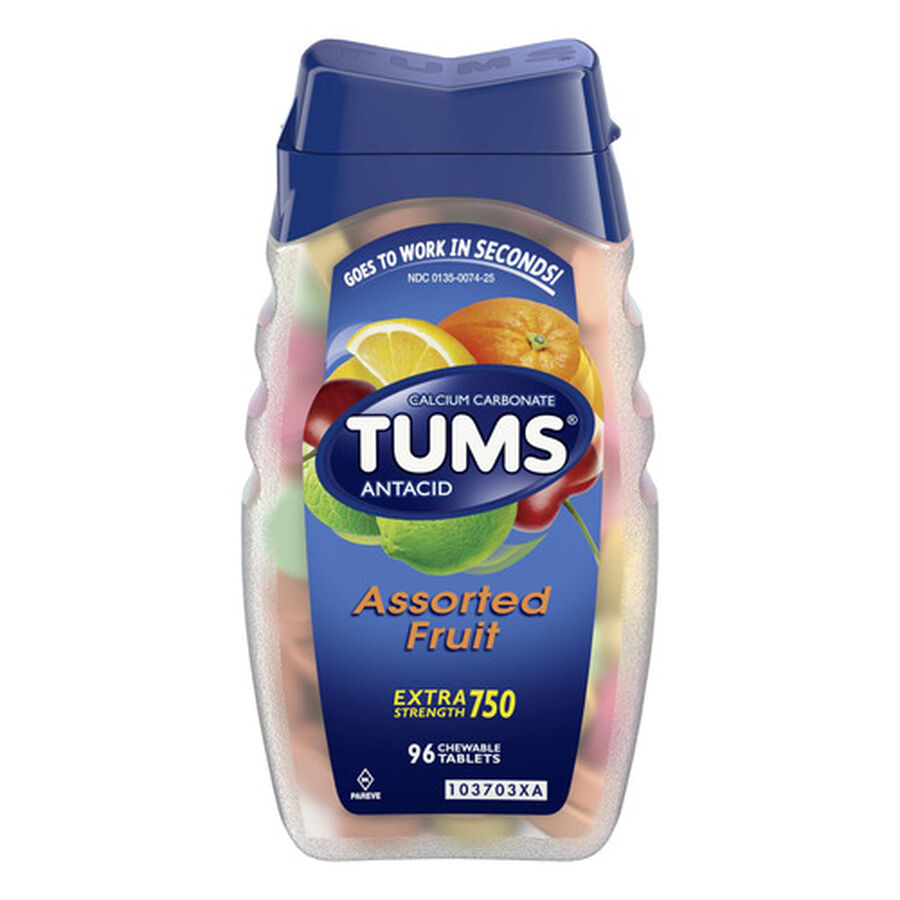TUMS Extra Strength Assorted Fruit Antacid Chewable Tablets for Heartburn Relief, 96 ct, , large image number 0
