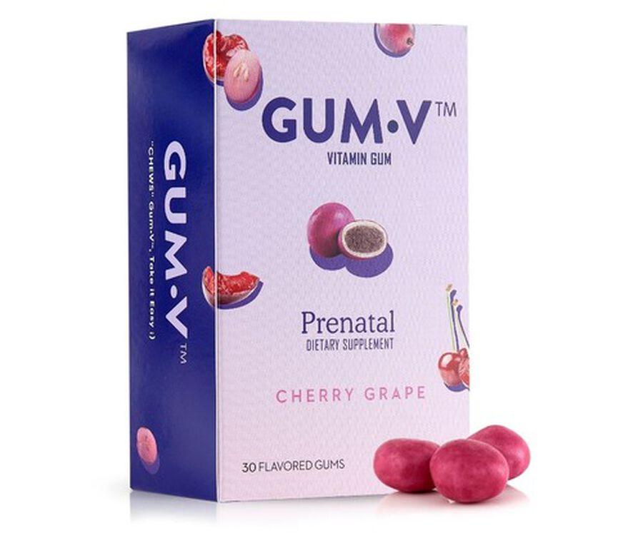 Zahler Gum-V Prenatal Gum, Kosher, 30 Cherry-Grape Flavored Gums, , large image number 0
