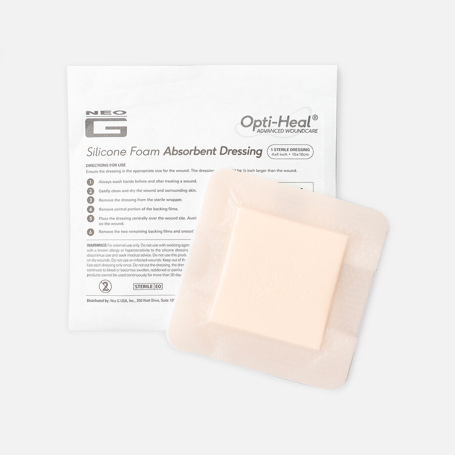 Neo G Silicone Foam Absorbent Dressing, 4 x 4, , large image number 1