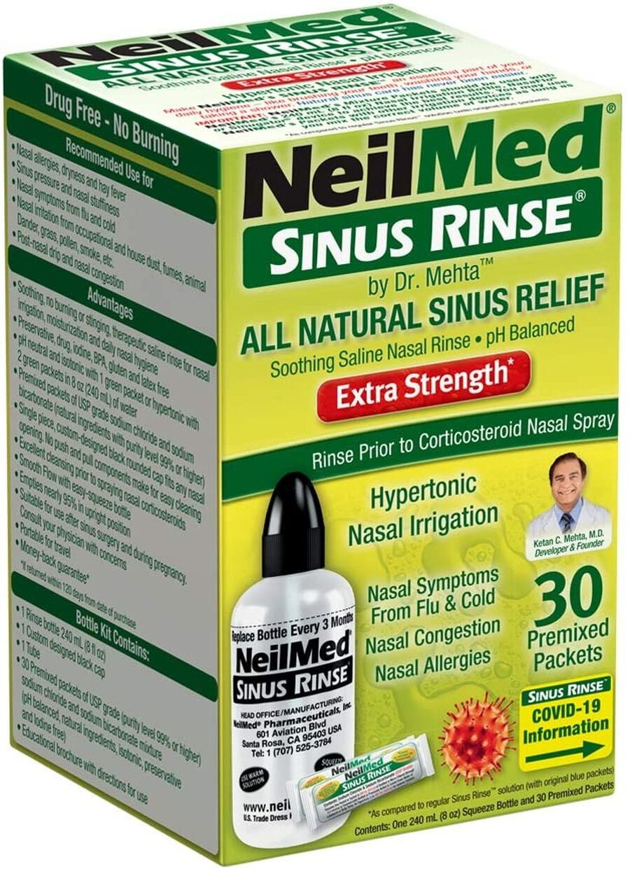 Sinus Rinse Hypertonic Kit With 30 Premixed Packets, , large image number 0