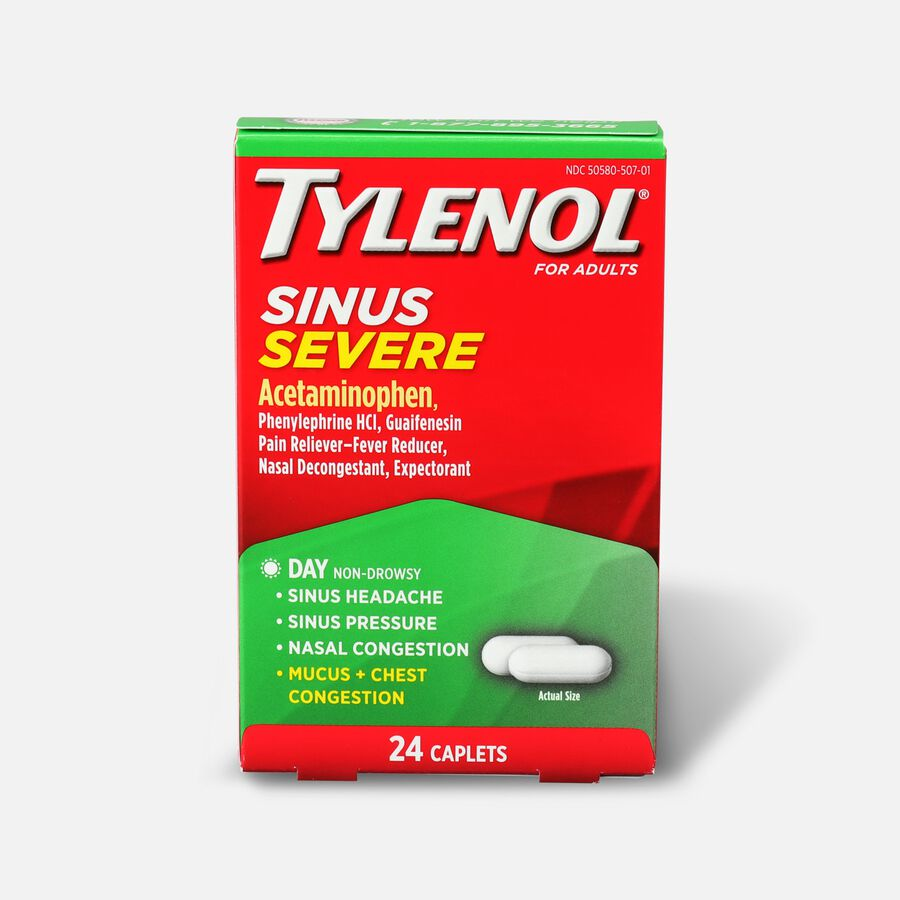 Tylenol Sinus Severe Daytime Caplet, 24 ct, , large image number 0