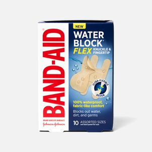 Band-Aid Waterblock Flex Knuckle & Finger Adhesive Bandages, Assorted, 10 ct