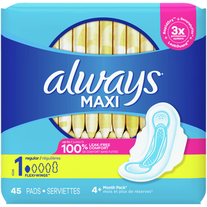 Always Maxi Pads Size 1 Regular Super Absorbency Unscented with Wings, 45 Count
