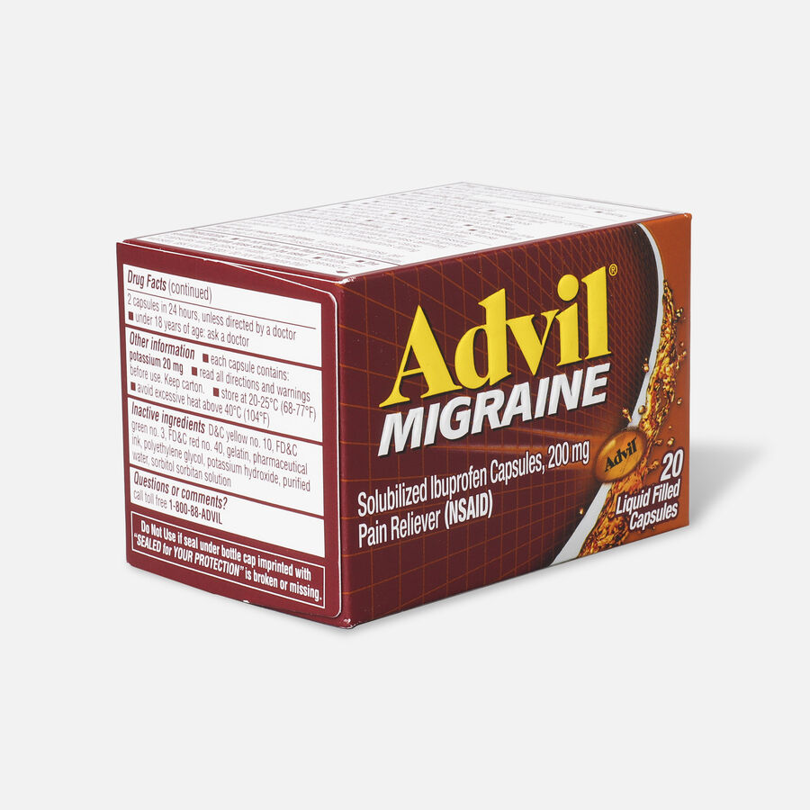 Advil Migraine Pain Reliever and Fever Reducer Liquid Filled Capsules, 200mg, 20 ct, , large image number 3