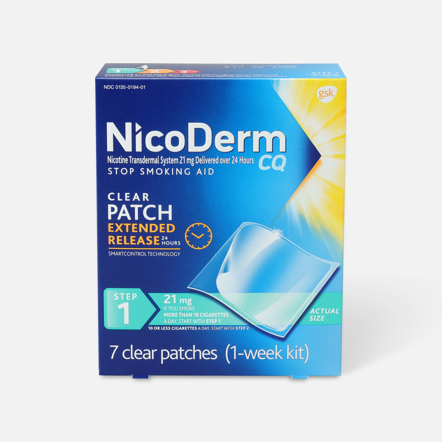 Nicoderm CQ Clear Patches, Step 1 to Quit Smoking, 21mg, 7 ct, , large image number 0