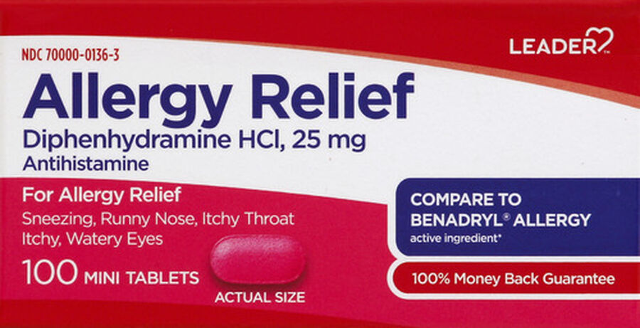 LEADER™ Allergy Relief 25mg Mini Tablets 100 ct, , large image number 0