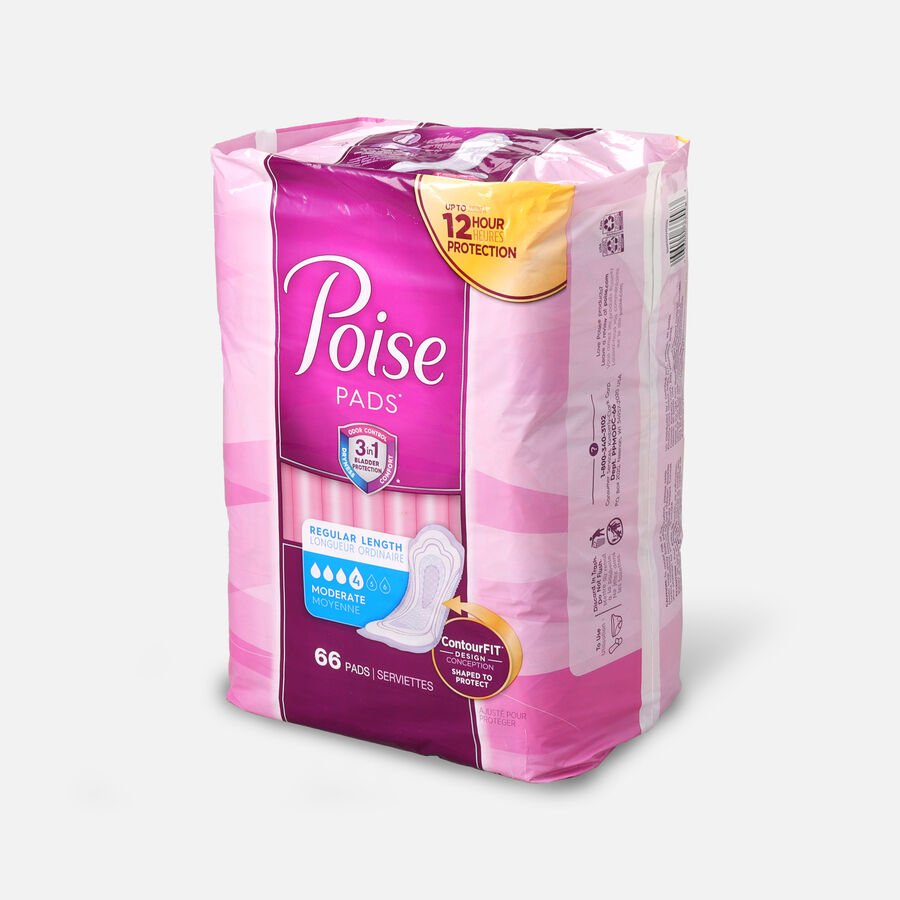 Poise Incontinence Pads, Moderate Absorbency, Regular, 66 Count, , large image number 1