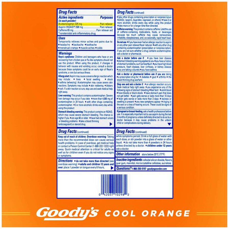 Goody's Cool Orange Acetaminophen / Aspirin Powder Stick, 24ct., , large image number 1