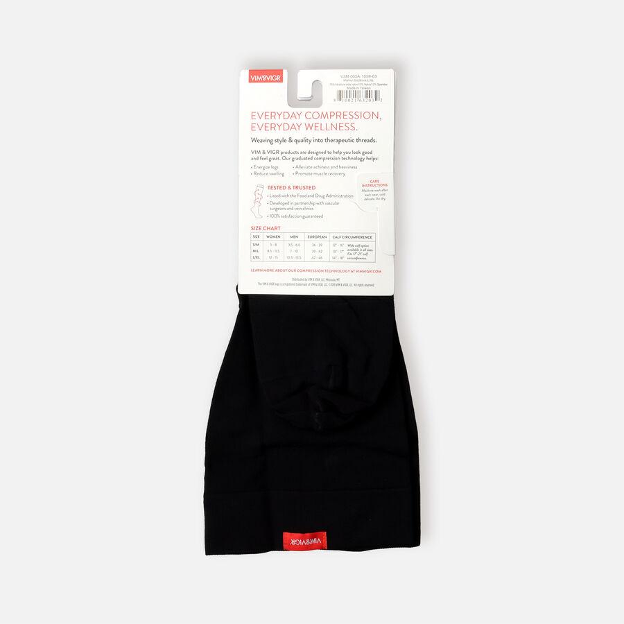 VIM & VIGR Moisture-Wick Nylon Socks, Solid Black, Wide Calf, 30-40 mmHg, , large image number 2