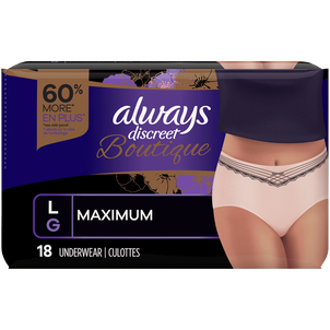Always Discreet Boutique Max Incontinence Underwear, Large, 18 ct