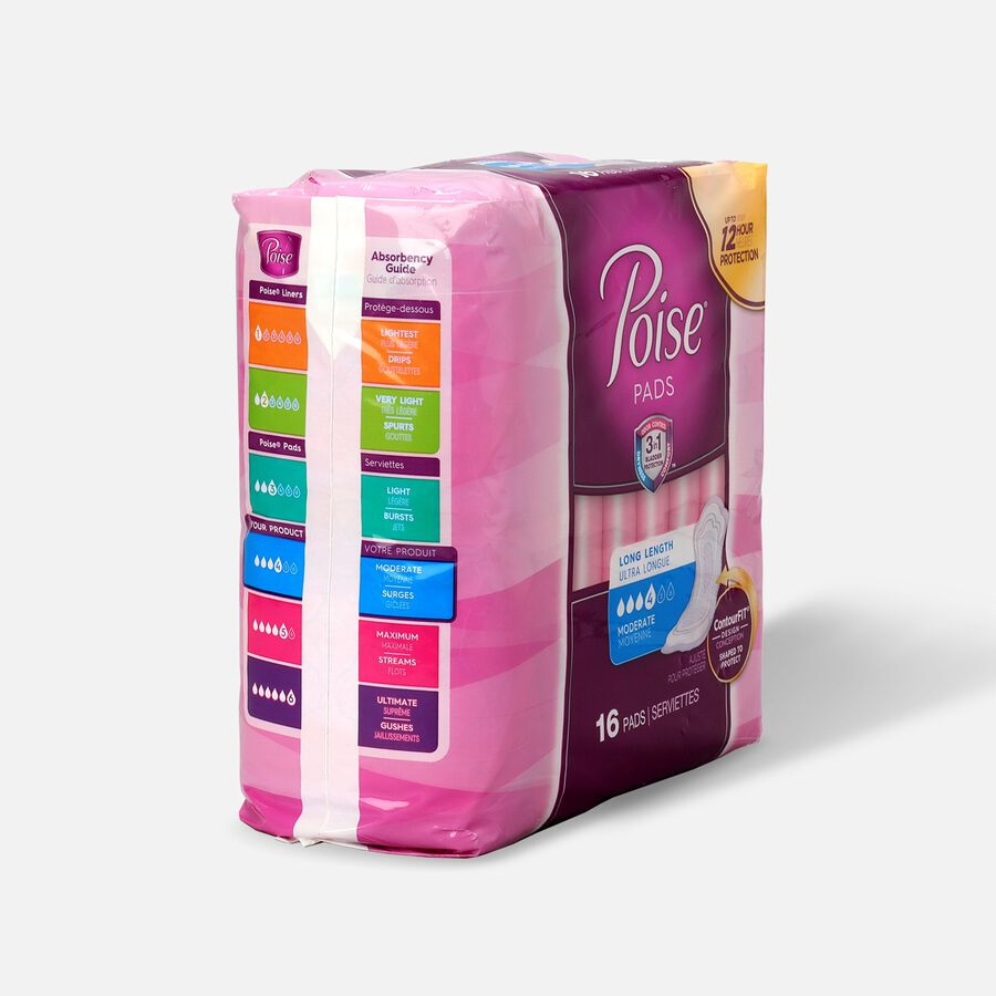 Poise® Moderate Absorbency Pads, Long Length, 16ct, , large image number 2