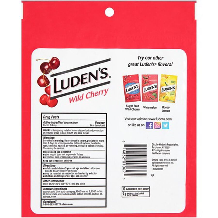 Luden's Wild Cherry Throat Drops, 90 ct., , large image number 1