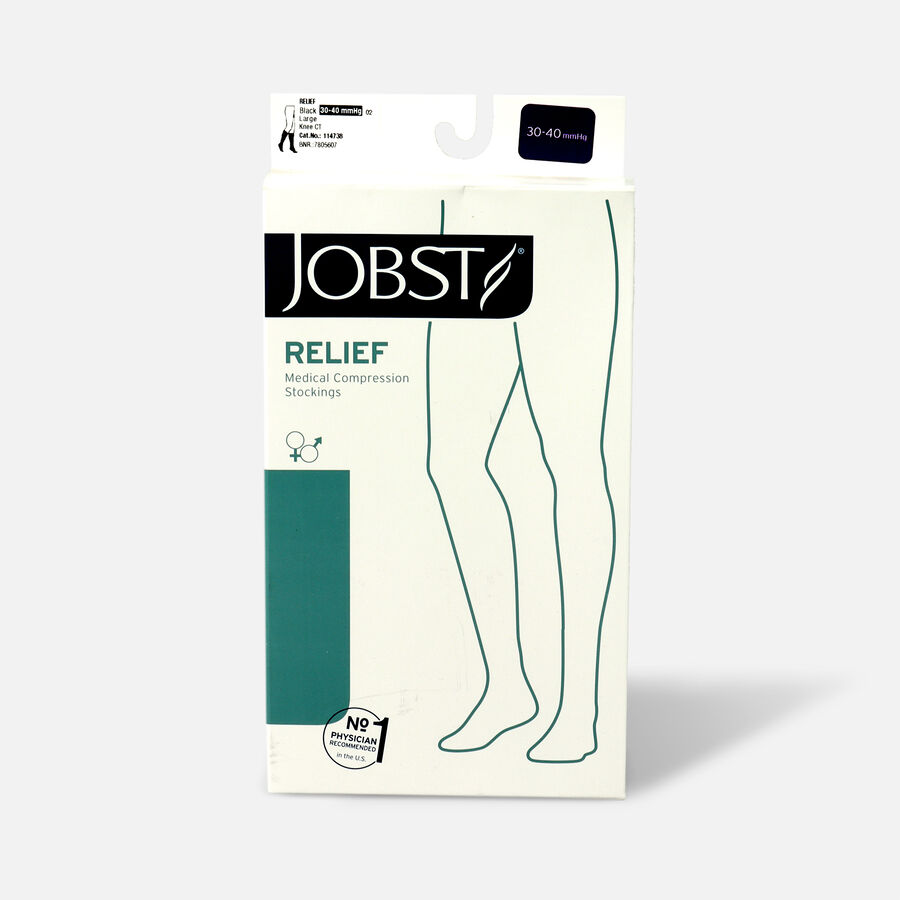 BSN Jobst Unisex Relief Knee-High Extra Firm Compression Stockings, Closed Toe, Large, Black, , large image number 0