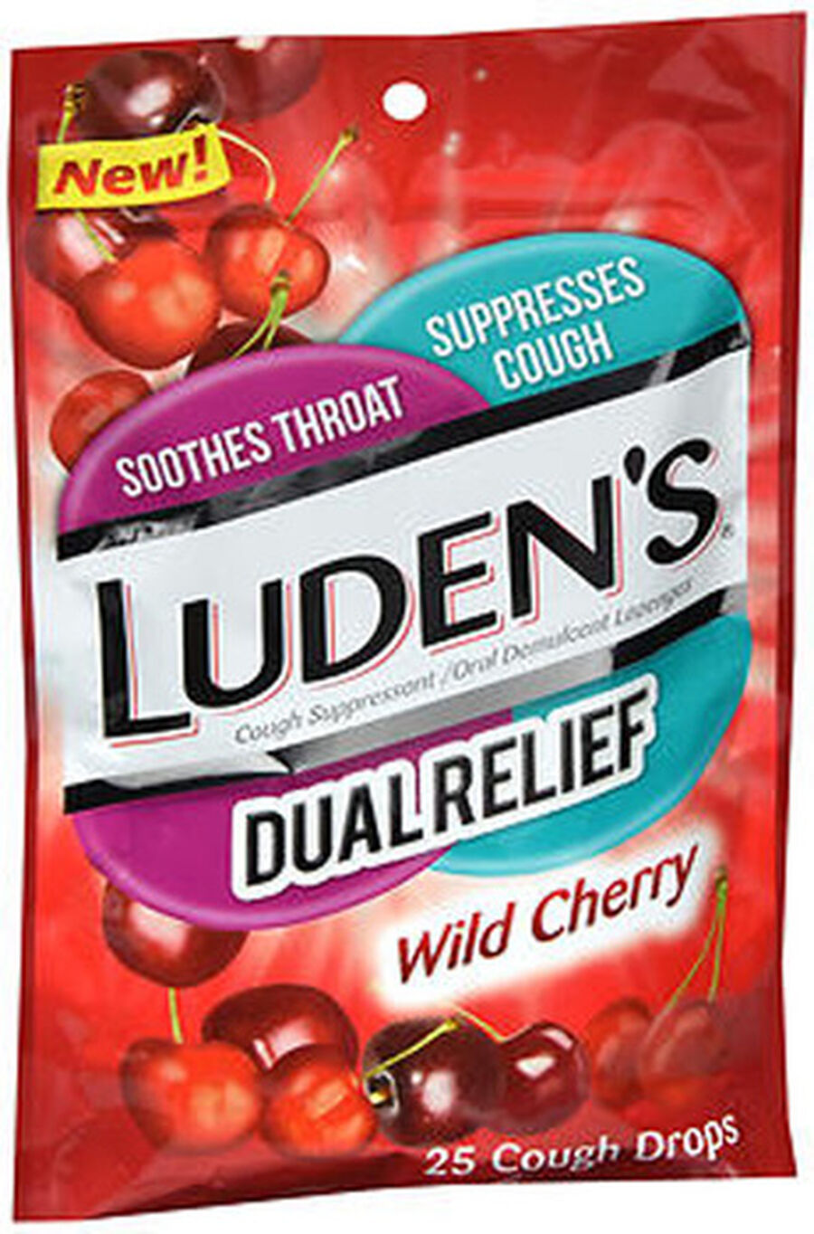 Luden's Dual Relief Wild Cherry Cough Drops, 25 ct., , large image number 0