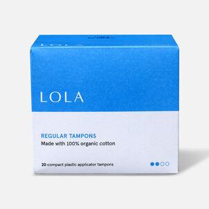 LOLA Regular Tampons, Compact Plastic Applicator, 20ct