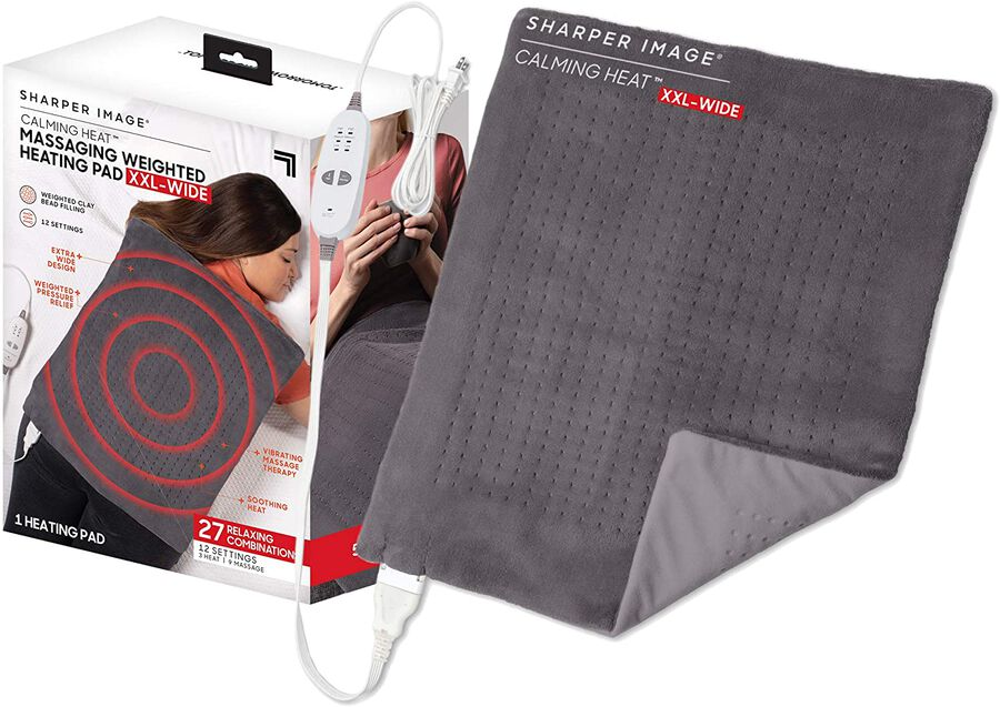 Sharper Image® Calming Heat XXL-Wide Massaging Weighted Heating Pad, 12 Setting, 5lbs, , large image number 3