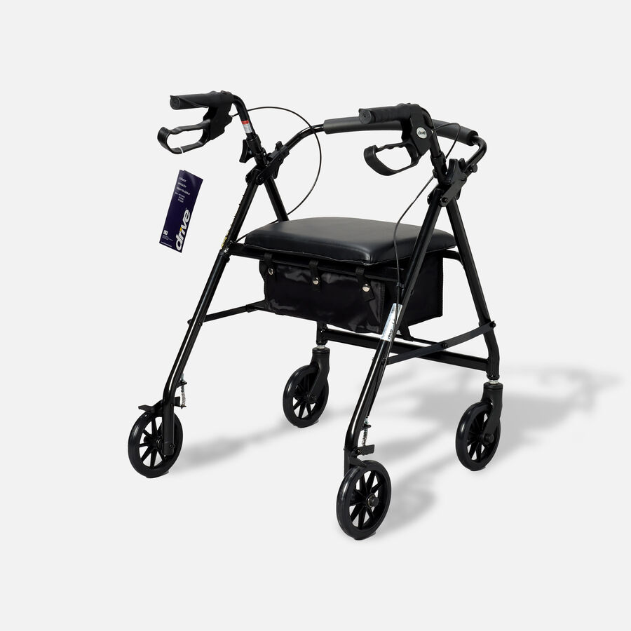 """Drive Aluminum Rollator with Fold Up and Removable Back Support, 6"""" Casters, Black, Black, large image number 1"""