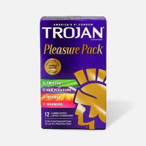 Trojan Lubricated Latex Condoms, Pleasure Pack, 12 ea