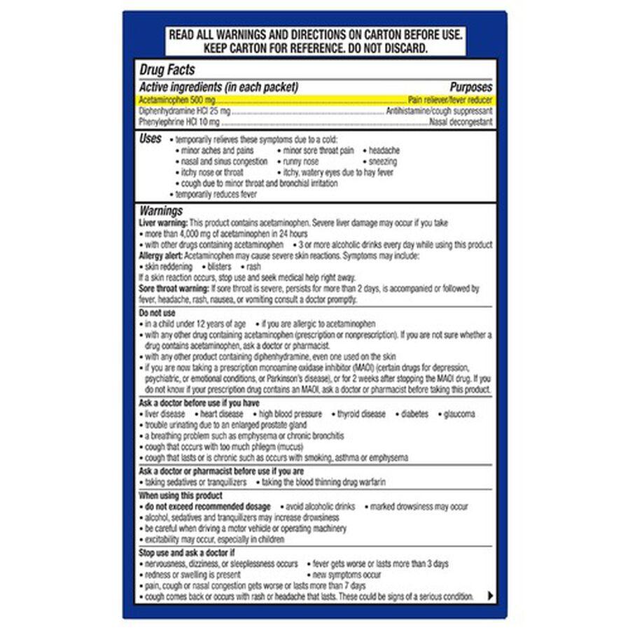 Theraflu Nighttime Multi-Symptom Severe Cold Hot Liquid Powder, Green Tea and Citrus Flavors, 6 ct, , large image number 2