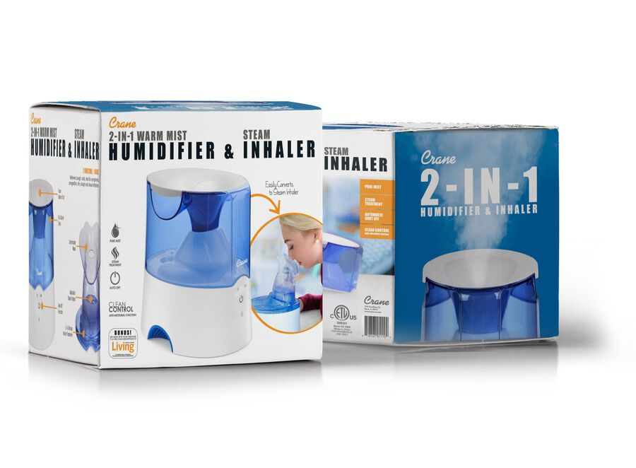 Crane Classic 2-in-1 Warm Mist Humidifier and Steam Inhaler, Blue/White, , large image number 0