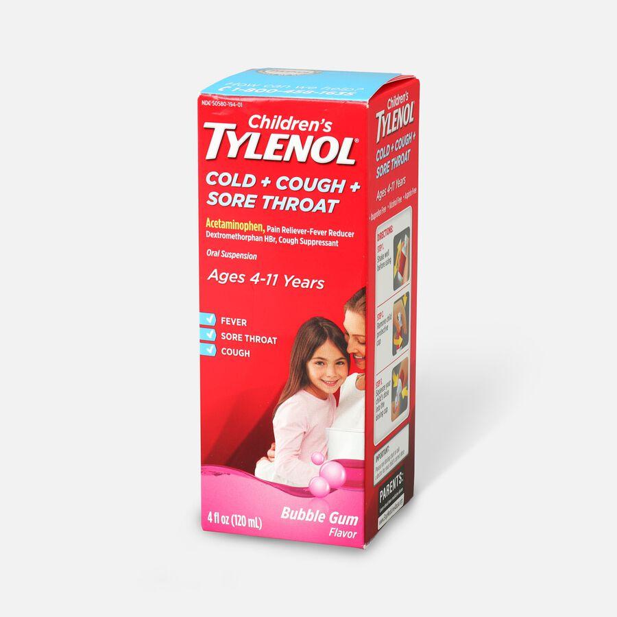 Children's Tylenol Cold + Cough + Sore Throat, Bubblegum Flavor, 4 fl oz, , large image number 2