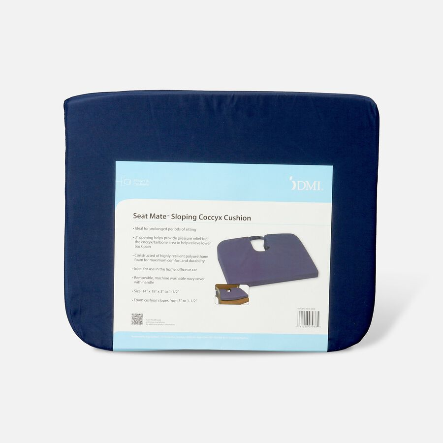 Foam Seat Cushion for Coccyx Support, 18 x 14 x 1.5 to 3 inches, Navy, , large image number 0