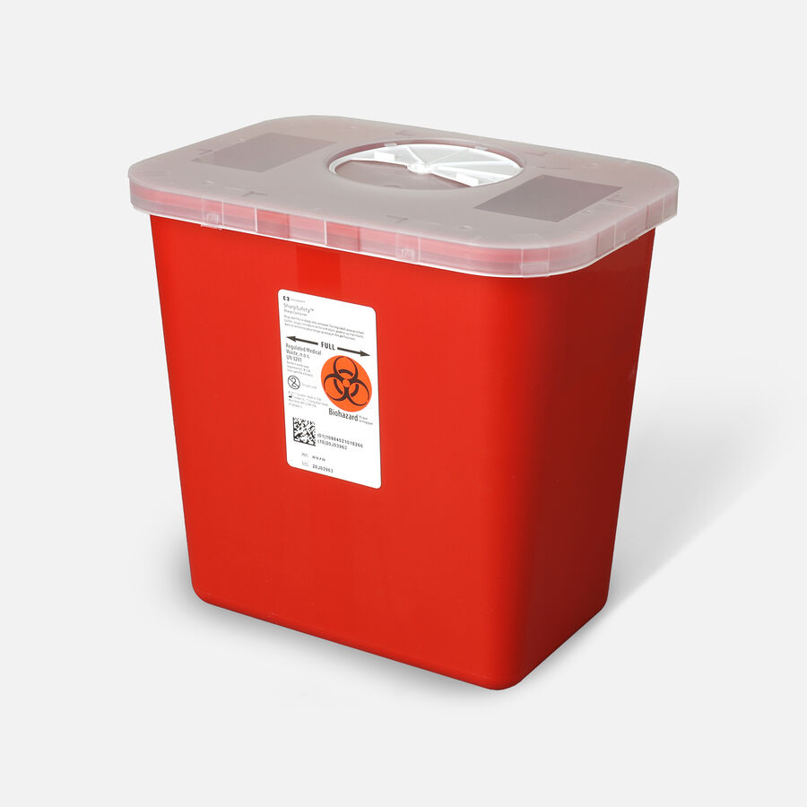 Transportable Sharps Container 2 Gallon, Transparent Red , 8970, , large image number 1