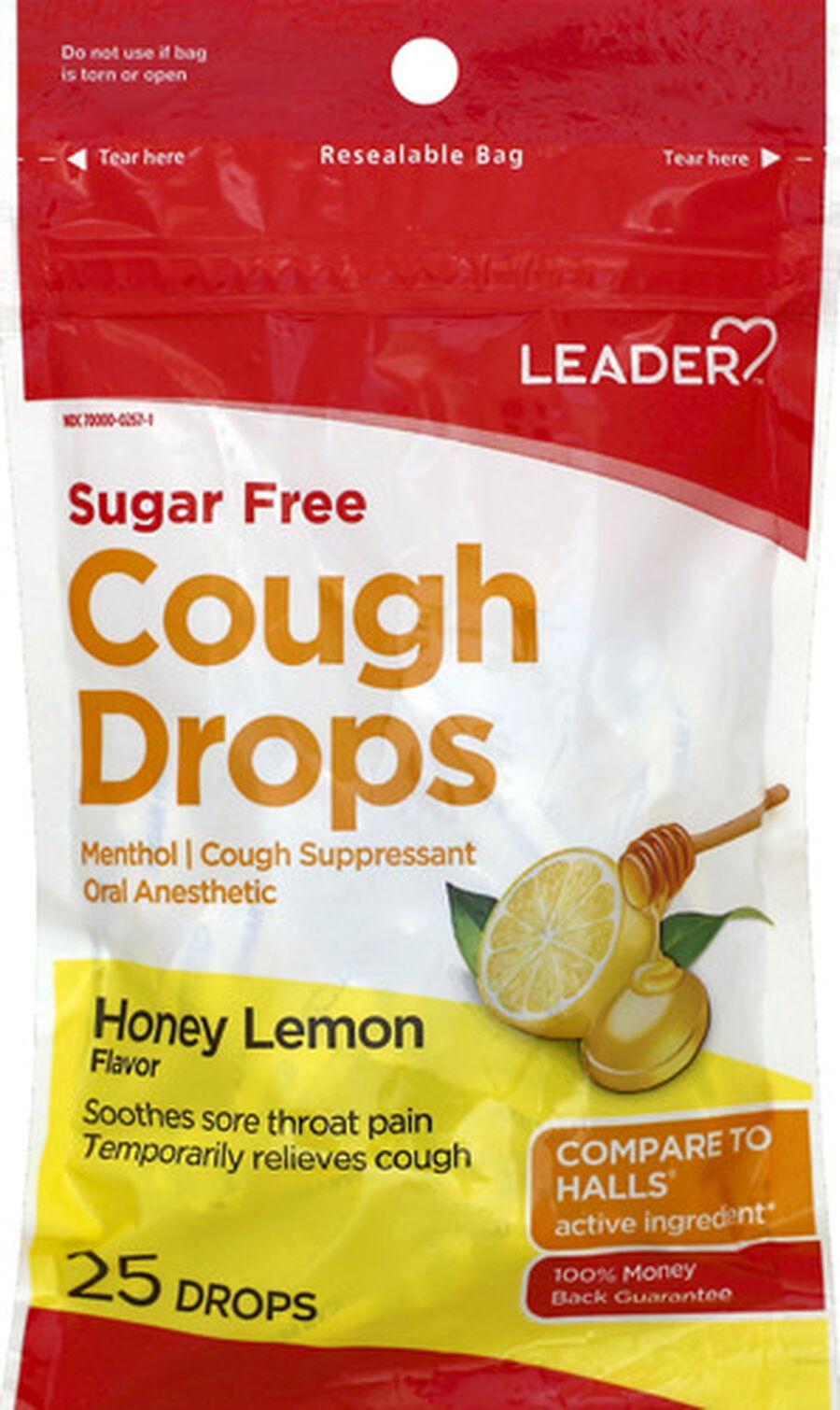 LEADER™ Cough Drops Sugar Free Honey Lemon 25 ct, , large image number 0