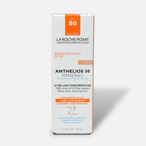 La Roche-Posay Anthelios 50 Mineral Sunscreen Tinted for Face, Ultra-Light Fluid SPF 50 with Antioxidants, 1.7oz