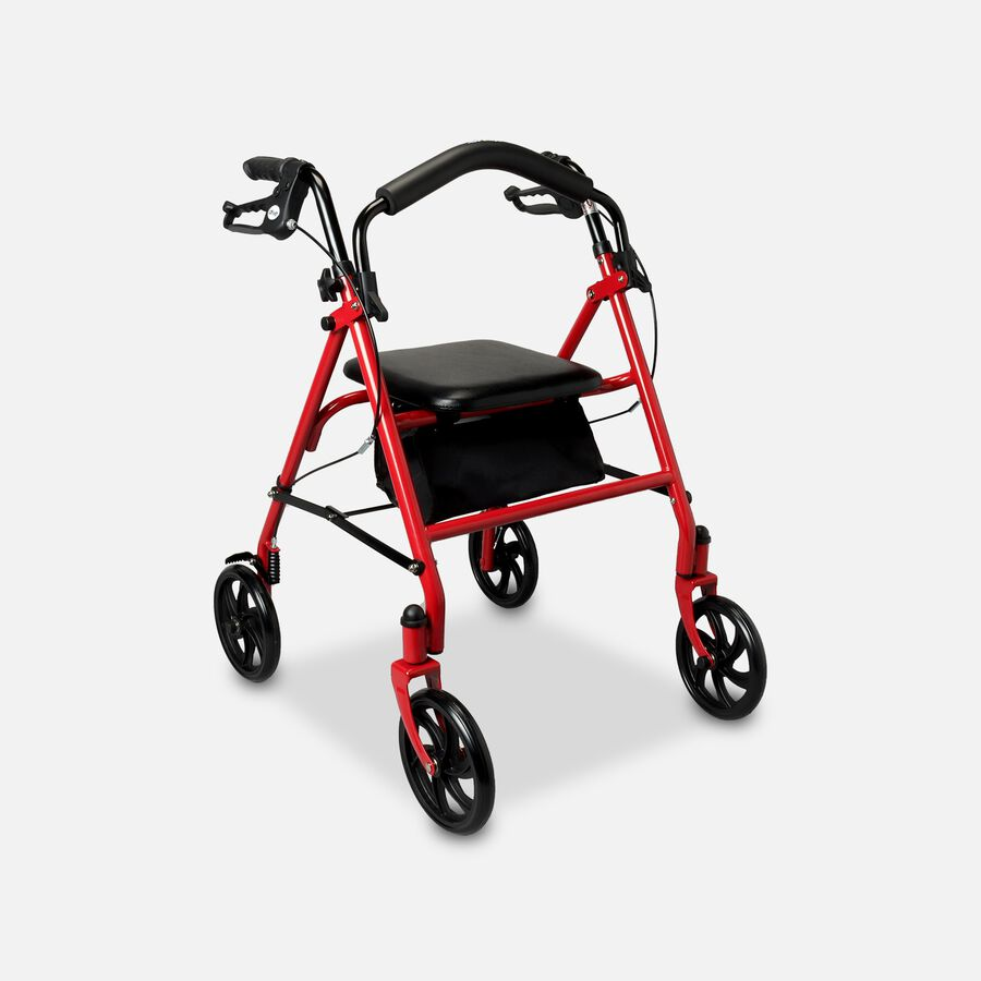 """Drive Aluminum Rollator with Fold Up and Removable Back Support, 7"""" Casters, Red, , large image number 2"""