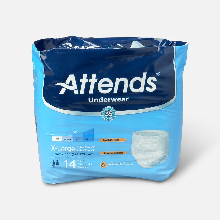 """Attends Adult Pull-On Extra Absorbency Protective Underwear X-Large 58"""" - 68"""" (Pack of 14), , large image number 0"""