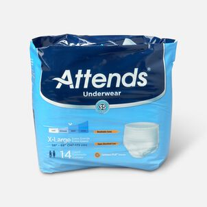 """Attends Adult Pull-On Extra Absorbency Protective Underwear X-Large 58"""" - 68"""" (Pack of 14)"""