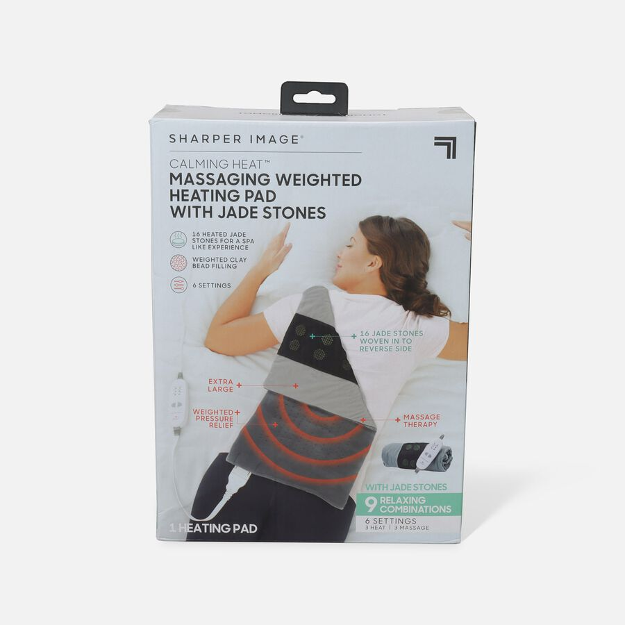 Sharper Image® Calming Heat, Jade Stone Massaging Weighted Heating Pad, 6 Setting, 4 lbs, , large image number 0