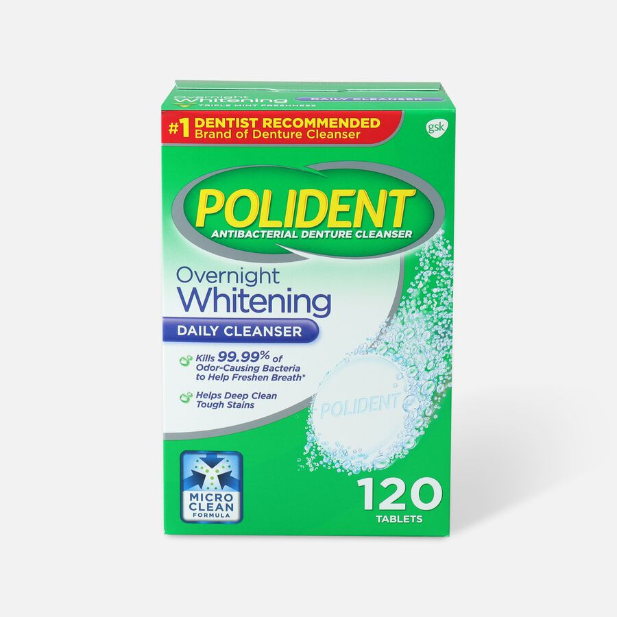 Polident Overnight Whitening Antibacterial Denture Cleanser Tablets, , large image number 1