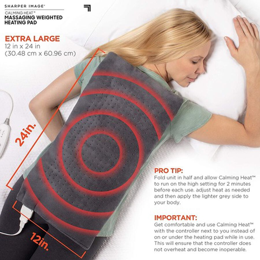 "Calming Heat Massaging Weighted Heating Pad, 12 Settings - 3 Heat, 9 Massage, 12"" x 24"", 4 lbs, , large image number 3"